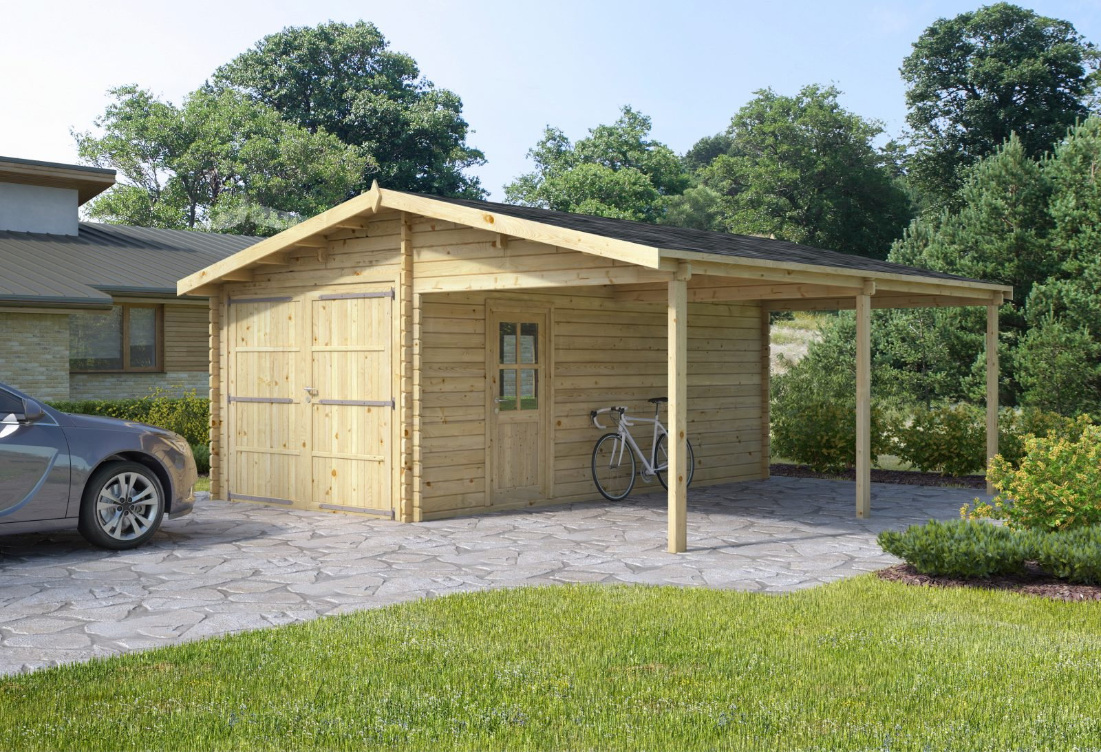 Garage Carport 6 X 6 M 4 246 00 ₤ Log Cabins Sheds